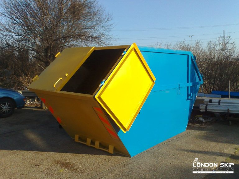 Yellow and blue enclosed skip