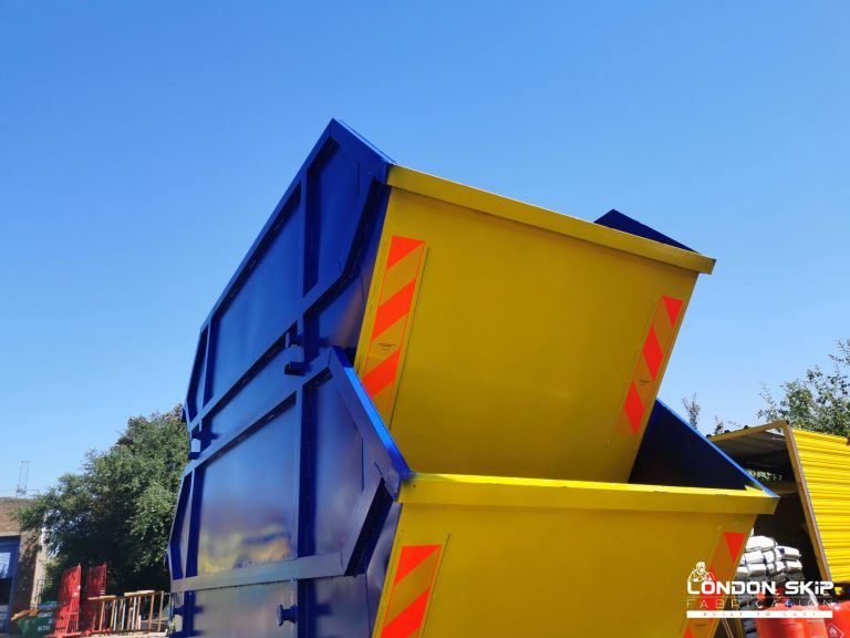 Yellow and blue skips