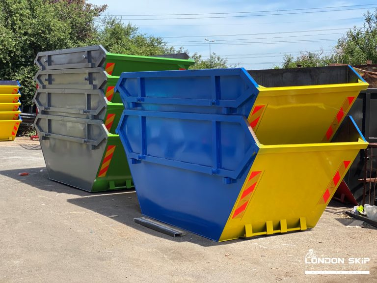 Yellow, blue and grey, green open skips